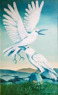 """Bild: Acryl auf Holz, Titel """"Weiße Raben"""""""