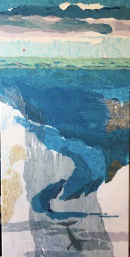 Bild: Collage aus farbigen, gerissenen Papieren: Tiefe der See