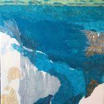 """Collage aus gerissenem Papier, Titel """"Die Tiefen der See"""""""