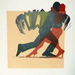 Holzschnitt Tango, vierfarbiger Druck zeigt ein Paar Tango tanzend samt Bandoneon