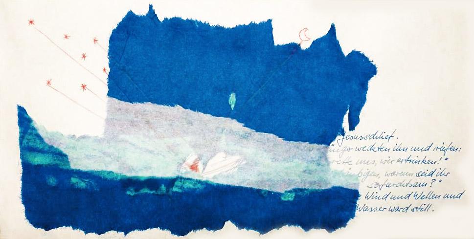 """Bild: Collage aus gerissenem Papier, Titel """"Zwischentöne 3"""""""