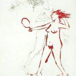 Zeichnung: Abgehakt, zeigt nackte Frau mit Spiegel