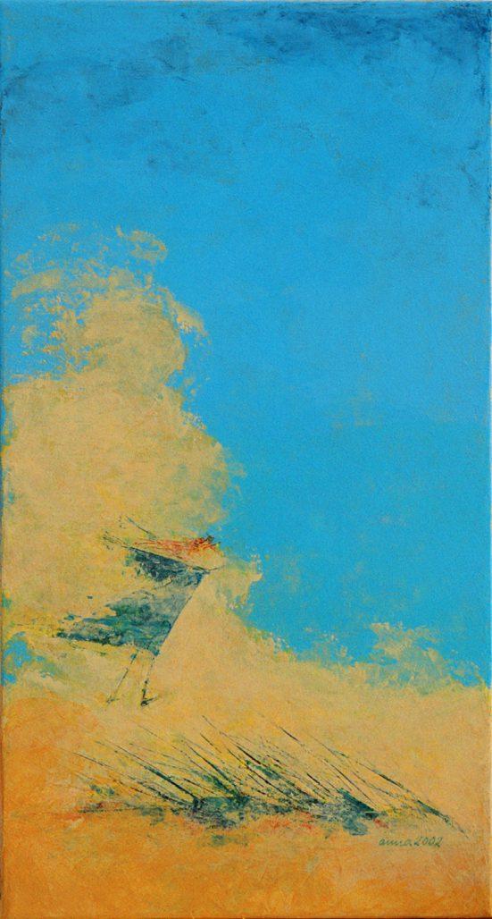 Bild vom Fliegen, Acryl auf Leinwand zeigt eine kleine Figur im Dünensand