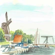 Reiseskizze Kanalszene in Friesland