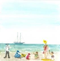 Reiseskizze Strandleben auf Borkum