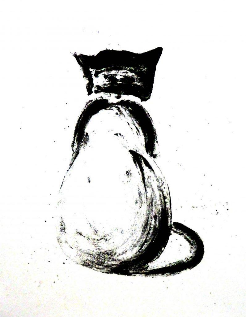 Lithographie Katze schwarzweiß