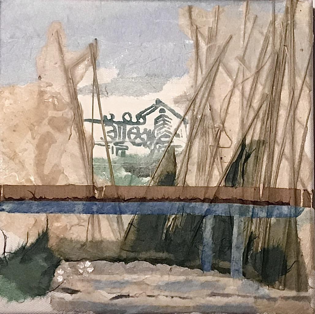 Blaue Brücke (Papiercollage)