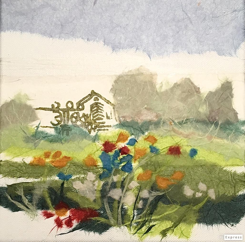 Blumenwiese an der Heerser Mühle (Papiercollage)