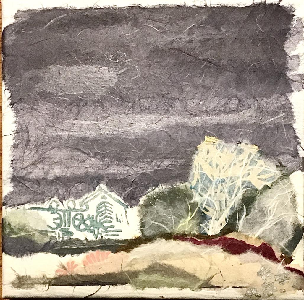 Raureif an der Heerser Mühle (Papiercollage)