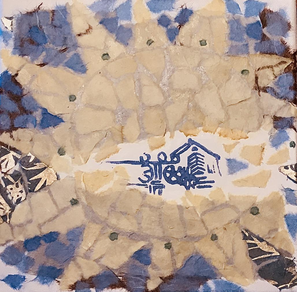 Bodenmosaik der Sonne (Papiercollage)
