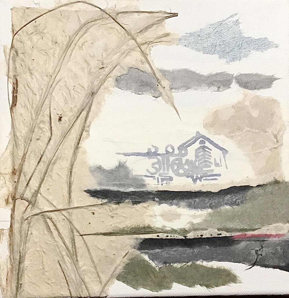 Winterstimmung an der Heerser Mühle (Papiercollage)